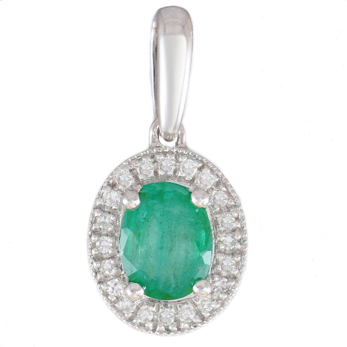 stone emerald in set pendant large pin silver natural sterling