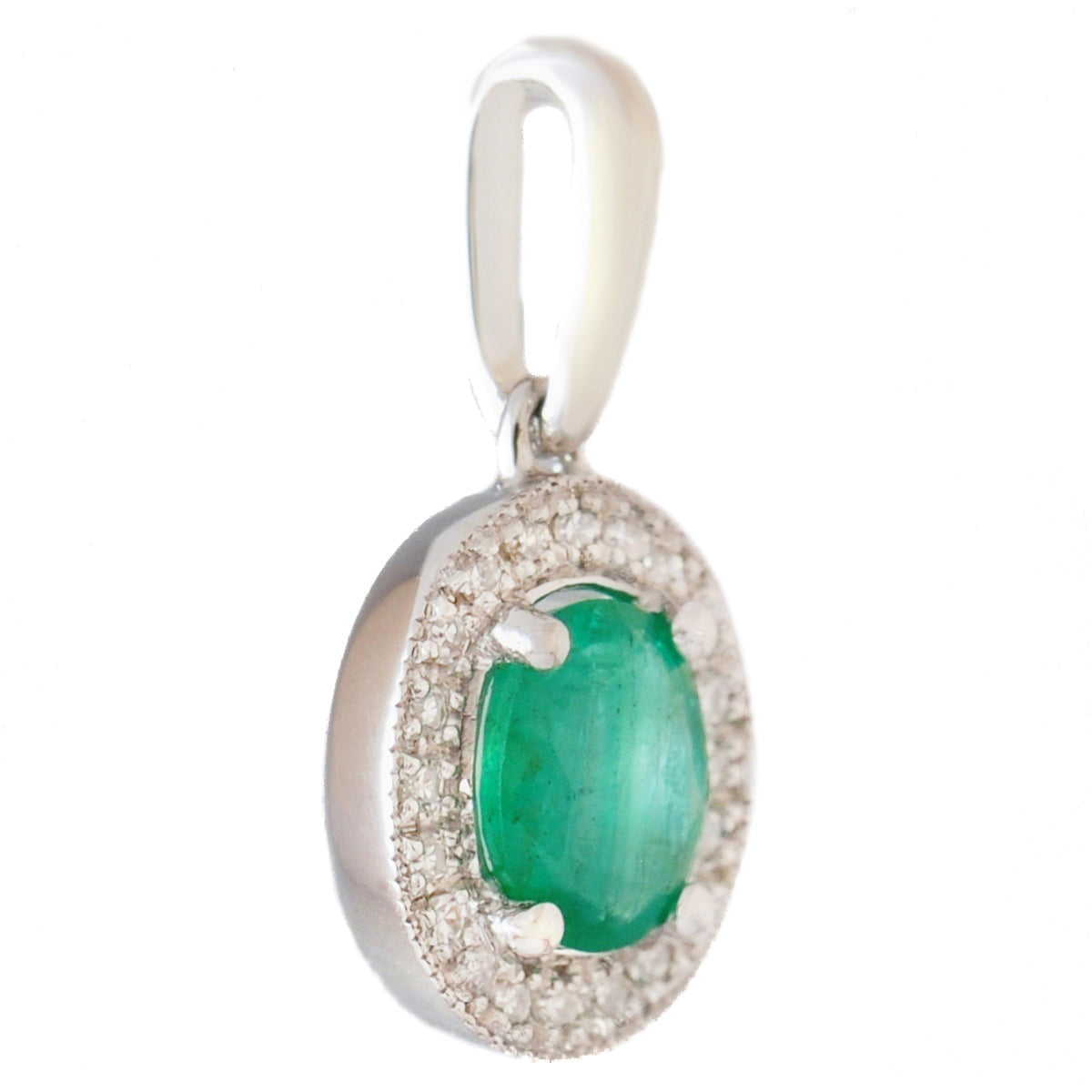 9K SOLID WHITE GOLD 0.40CT NATURAL EMERALD PENDANT WITH 20 DIAMONDS.