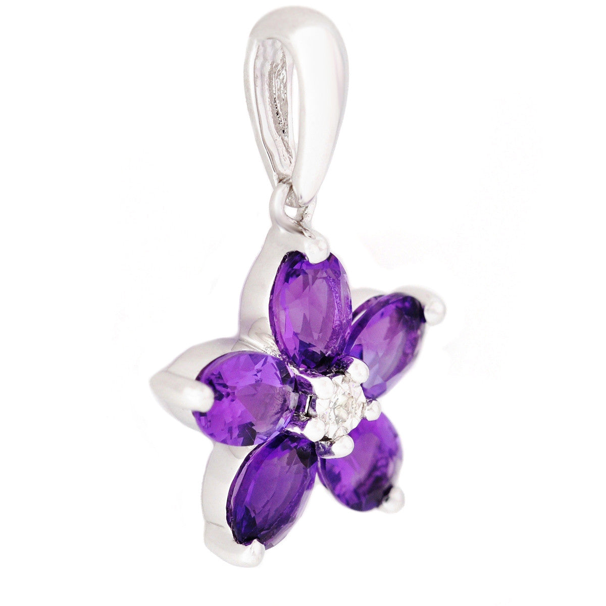 9K SOLID WHITE GOLD 0.70CT AFRICAN AMETHYST CLUSTER PENDANT WITH CENTRE DIAMOND.