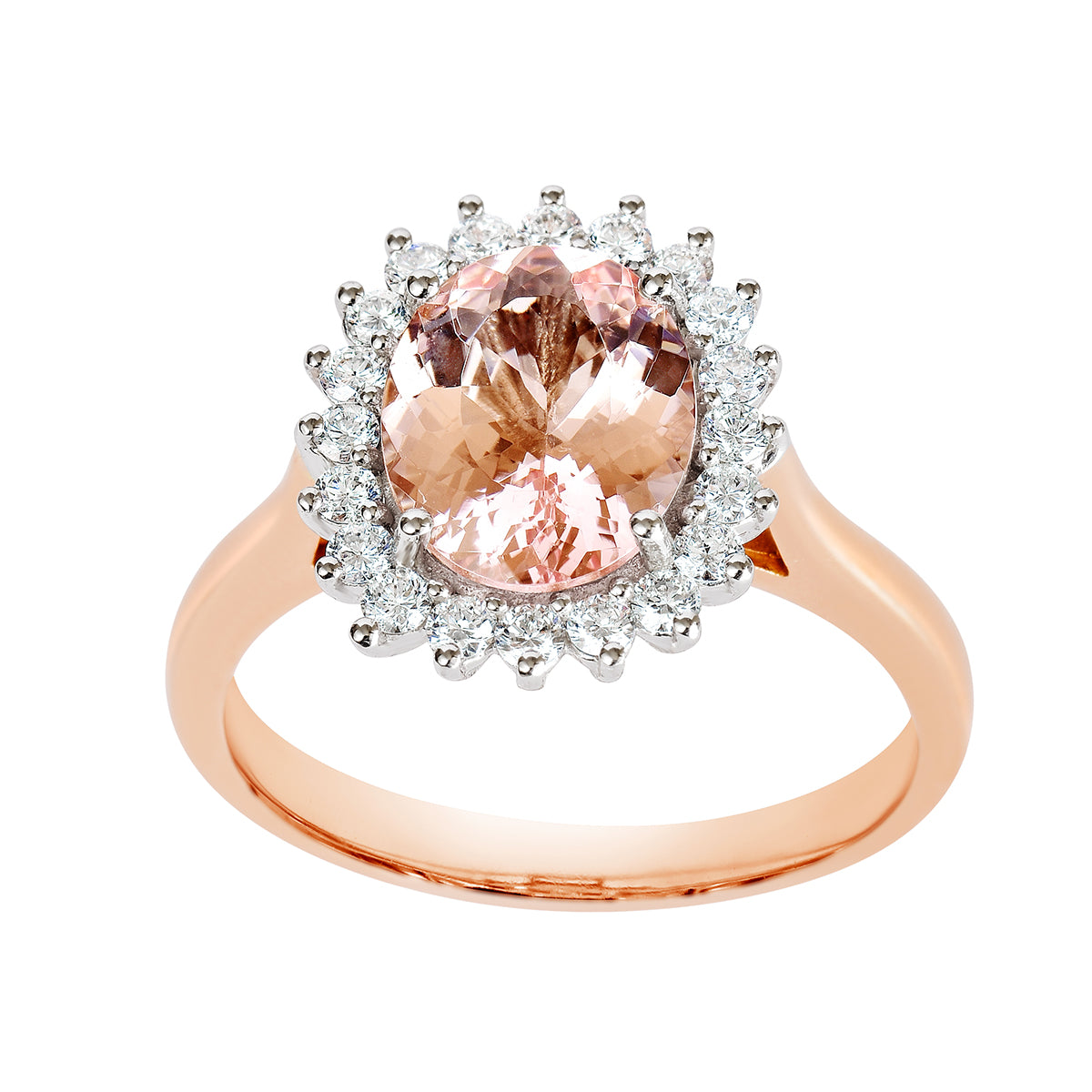 18K SOLID ROSE GOLD 2.27CT NATURAL OVAL MORGANITE HALO RING WITH 20 VS/G DIAMONDS.