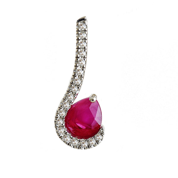 9K SOLID WHITE GOLD 0.40CT NATURAL RUBY PENDANT WITH EIGHTEEN DIAMONDS.