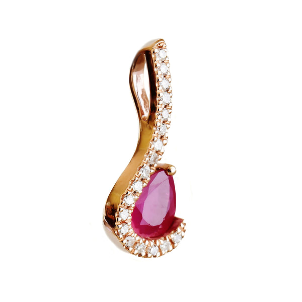 9K SOLID ROSE GOLD 0.40CT NATURAL RUBY PENDANT WITH EIGHTEEN DIAMONDS.