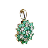 9K SOLID WHITE GOLD 0.85CT NATURAL EMERALD CLUSTER PENDANT WITH SEVEN DIAMONDS.