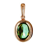 9K SOLID ROSE GOLD 1.90CT NATURAL GREEN QUARTZ  PENDANT WITH TWELVE  DIAMONDS.