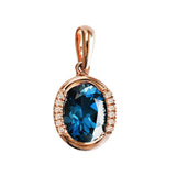 9K SOLID ROSE GOLD 1.90CT LONDON BLUE TOPAZ  PENDANT WITH TWELVE  DIAMONDS.