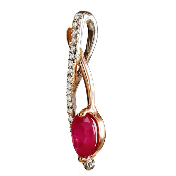 9K SOLID WHITE & ROSE GOLD 0.60CT NATURAL RUBY PENDANT WITH TWENTY ONE DIAMONDS.