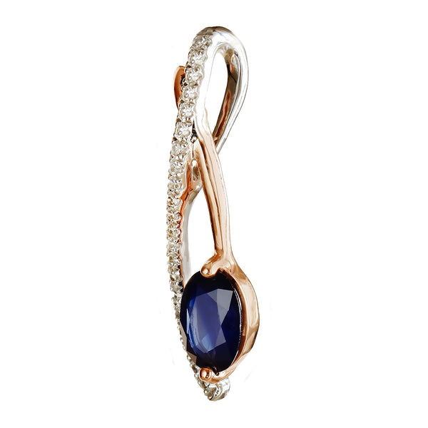 9K SOLID WHITE & ROSE GOLD 0.60CT NATURAL SAPPHIRE PENDANT WITH TWENTY ONE DIAMONDS.