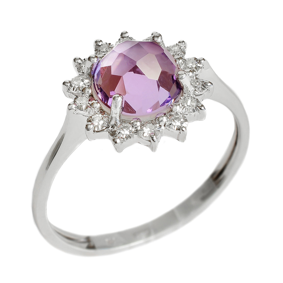 9K SOLID WHITE GOLD 1.40CT NATURAL DOME AMETHYST HALO RING WITH 14 DIAMONDS.