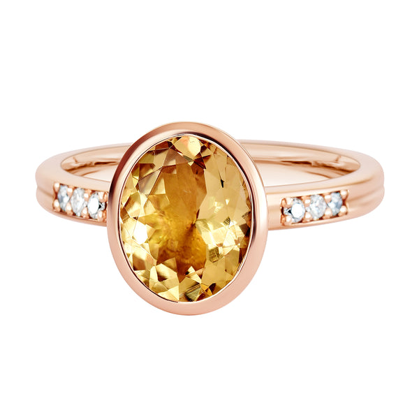 18K SOLID ROSE GOLD 2.30CT NATURAL OVAL PEACH MORGANITE RING WITH 6 VS/G DIAMONDS.