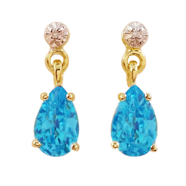 9K SOLID GOLD 2.10CT SWISS BLUE TOPAZ AND DIAMOND EARRINGS.