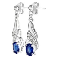 9K SOLID WHITE GOLD 1.20CT NATURAL BLUE SAPPHIRE AND 6 DIAMOND DROP DANGLE EARRINGS.