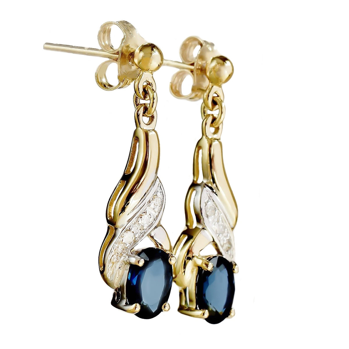 9K SOLID GOLD 1.20CT NATURAL BLUE SAPPHIRE AND 6 DIAMOND DROP DANGLE EARRINGS.