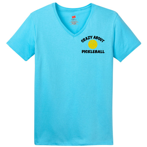 Crazy About PickleBall Hanes® Ladies ComfortSoft® Short Sleeve V-Neck