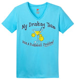 Drinking Team Hanes® Ladies ComfortSoft® Short Sleeve V-Neck