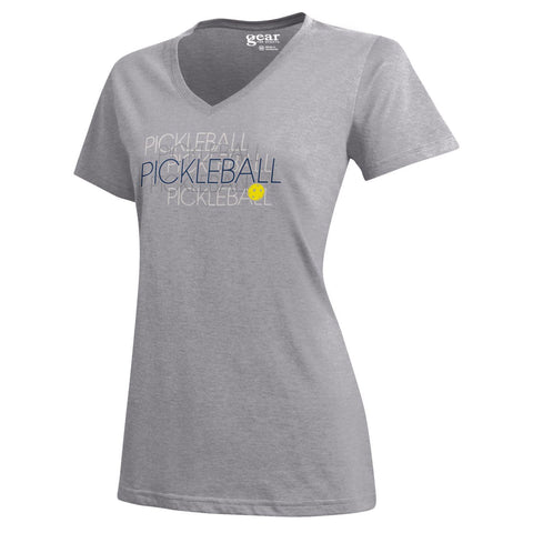 "PickleBall ""Double-Vision"" Women's S/S V-neck Tee; Oxford Heather Sizes S - XXL"