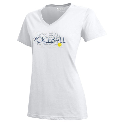 "PickleBall ""Double-Vision"" Women's S/S V-neck Tee; White Sizes S - XXL"