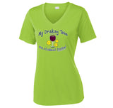 Women's Drinking Team Wine Design Short Sleeve Sport-tek shirt