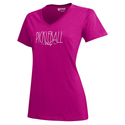 "PickleBall ""Crazy"" Women's S/S V-neck Snapdragon pink Tee Sizes S - XXL"