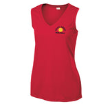 Ladies True Red Sport-Tek® Sleeveless PosiCharge® Competitor™ V-Neck Tee.
