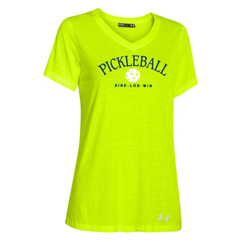Lime Green Under Armour Heat Gear! Women's S/S V-neck Tee; Sizes S - XXL