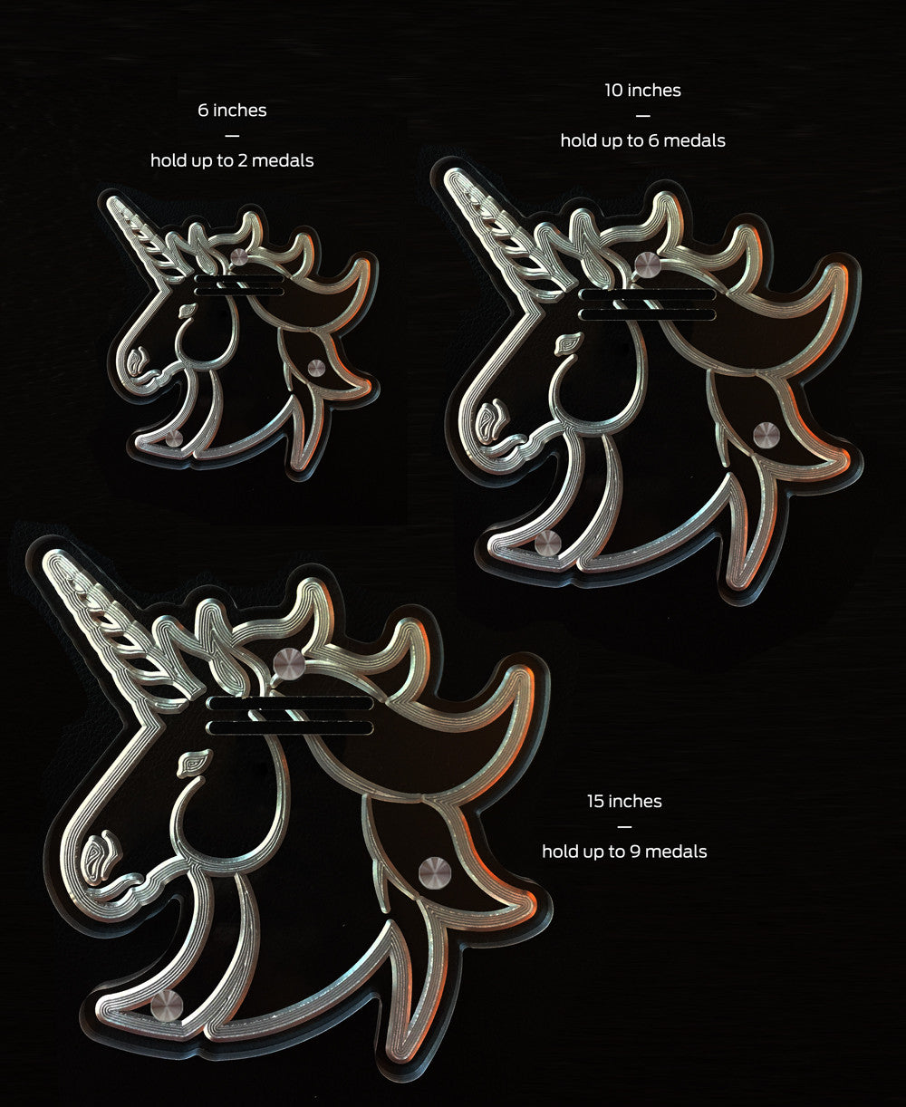 Unicorn Etched Acrylic Art 6 inch Medal Display (1-2 medals)