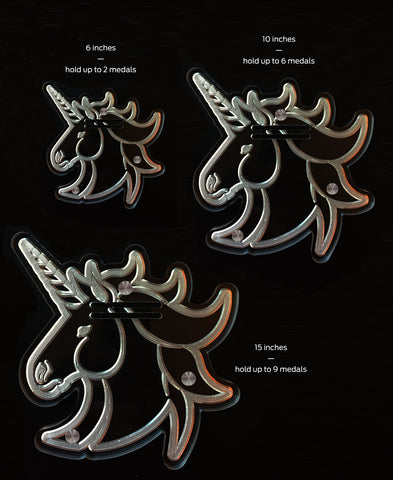 Unicorn Etched Acrylic Art 15 inch Medal Display (8-9 medals)