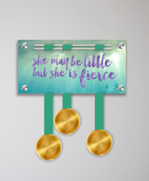 Acrylic Art: 'She May Be Little but She is Fierce' Medal Display by Raw Threads®
