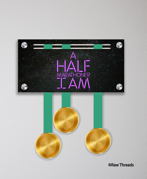 Acrylic Art: 'Half Marathoner I Am Purple Blade' Medal Display by Raw Threads®