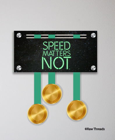 Acrylic Art: 'Speed Matters Not Green Blade' Medal Display by Raw Threads®