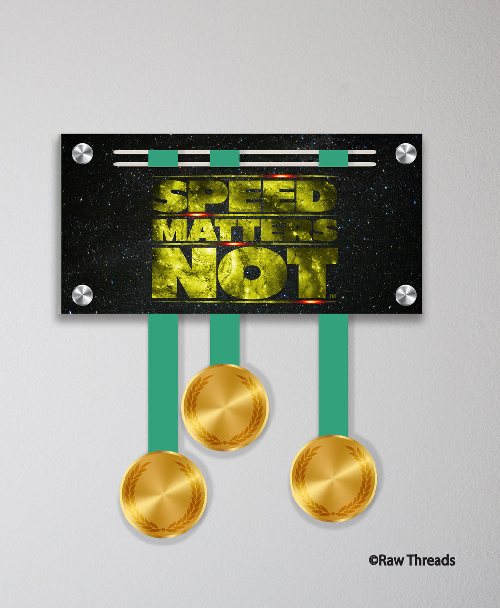 Acrylic Art: 'Speed Matters Not' Medal Display by Raw Threads®
