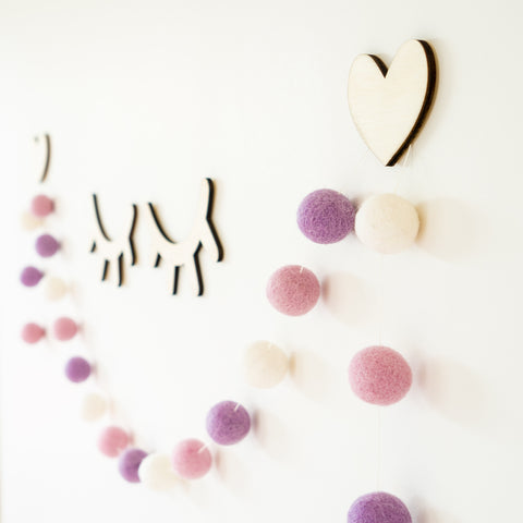 Dusky Pink Bunting 2m + Heart Wall Hooks