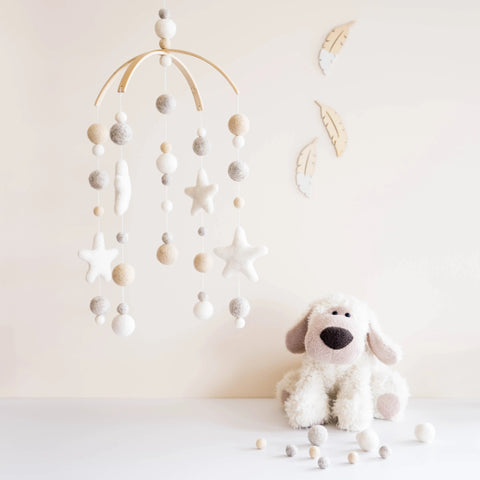 DIY Baby Mobile - White & Cream with Stars