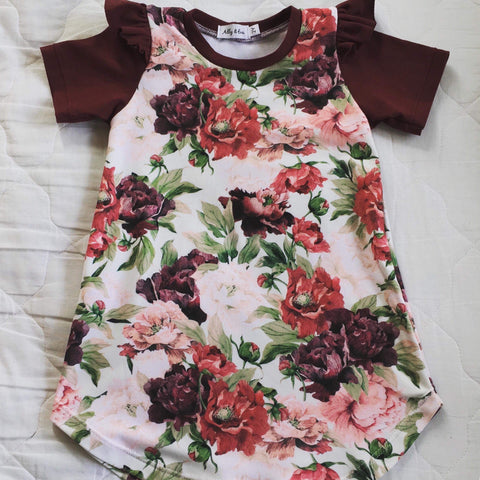 Savannah Dress- Bordeaux Floral