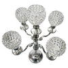 "GiftBay 4018 Wedding Candelabra, Beaded Candle Pillar Holders, Silver Nickle Plated, 27""H and 17""W"