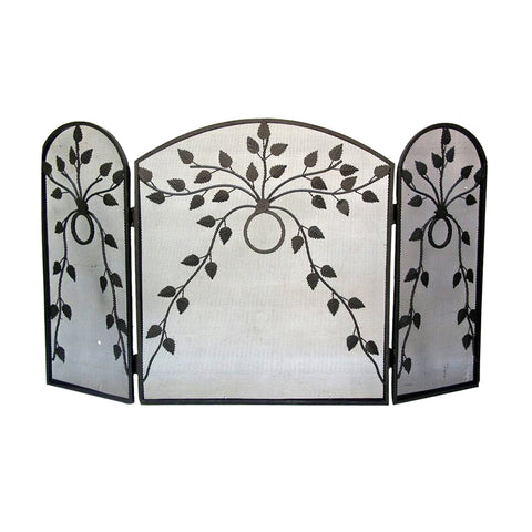 "GiftBay 1103 Folding 3 Panel Fireplace Screen 28.5"" High, Black Powder Coated"