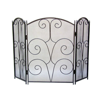 "GiftBay 1105 Folding 3 Panel Fireplace Screen 30"" High, Black Powder Coated"
