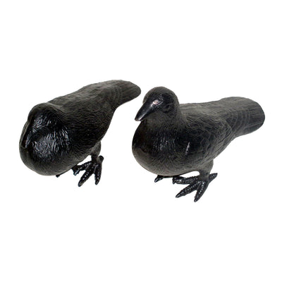 GiftBay GS-1269(S/2) Garden Pigeon Statue Pair, Solid Cast Aluminum Metal, Black Color Patina Finish
