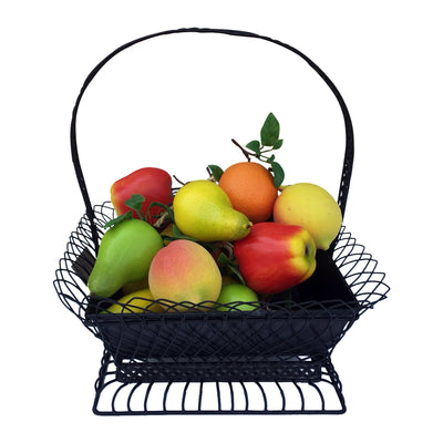 "GiftBay 814-B Metal Basket Solid Detachabe Pot Inside Sturdy Built Wire Cage With Handle Black 18"" High."