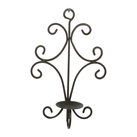 "GiftBay 14021 Beautiful Wall Candle Sconce 15"" High, Black Powder Coated"