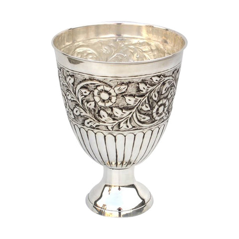 GiftBay 1402 Beautiful Dual Purpose Vase and Wine Cooler Silver Finish Nickel Plated on Brass Metal Vase