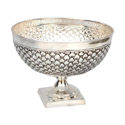 "GiftBay 1404 Beautiful Silver Finish (Nickel Plated) on Brass Metal Vase 10"" Diameter & 7.5"" High"