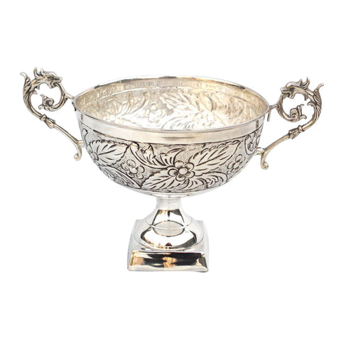 "GiftBay 1405 Beautiful Silver Finish (Nickel Plated) on Brass Metal Vase 8"" Diameter Without Handle & 8"" High"