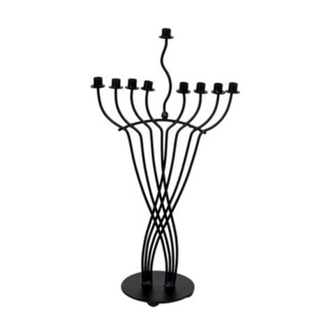 "GiftBay 16002 Menorah 9-Branch Black Finish Wrought Iron Contemporary Look 20"" To Celebrate Hanukkah and Gifts"