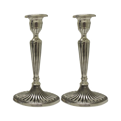 "GiftBay 1002(S/2) Candlestick Holder, Antique Silver Finish, 9""h and 5"" X 4"" Oval Base"