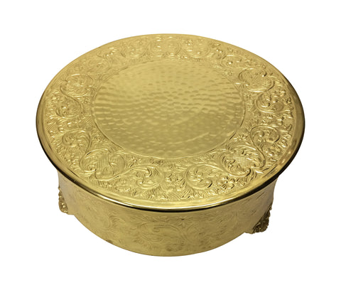 GiftBay Wedding Cake Stand Round 14-Inch, Aluminum Gold Finish