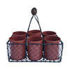 "GiftBay 809-BR Wire Basket with Six Pot Black 11"" High, Very Unique and Strongly Built"