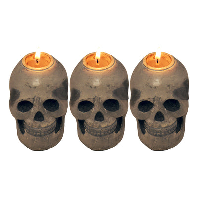 "GiftBay Metallic Skeleton Skull Votive Candle Holders Set of 3 Pieces, Aluminum 3"" High"