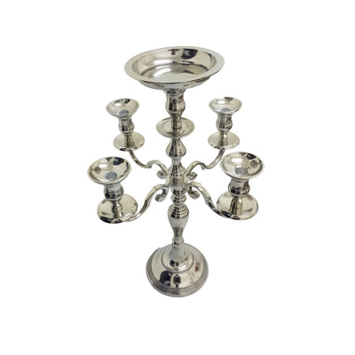 "GiftBay 4003 Wedding Candelabra with 5 Candlestick Holders and 1 Flower Pot Plate Holders, Silver Nickle Plated, 24""H and 16""W"