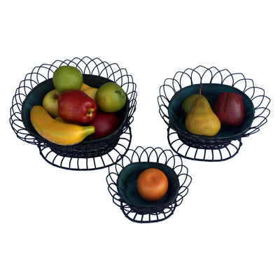 GiftBay 810-BG(S/3) Basket / Pot 3 Piece Set, Removable Pots in a Very Strong Wire Cage
