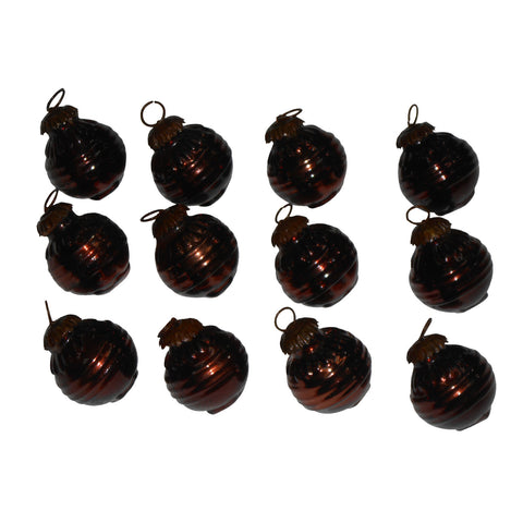GiftBay 274(S/12) Antique-look Glass Ornament Set of 12 for Christmas Decorations